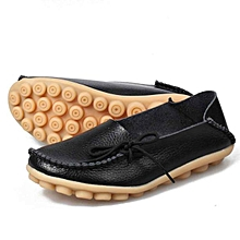 new women leather shoes loafers soft leisure flats female casual shoes-black (eu sizing)