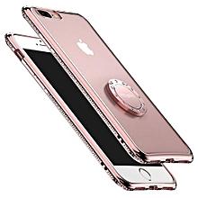 coque iphone 6 plus / 6s plus, coque pour téléphone, couverture arrière antichoc en strass de luxe avec anneau de support rotatif gratuit pour iphone 6 plus / 6s plus - or rose
