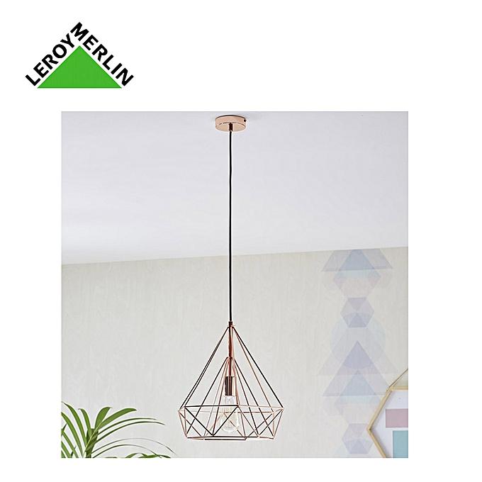 inspire by leroy merlin suspension design industriel byron m tal cuivre diam 37cm 1x60w. Black Bedroom Furniture Sets. Home Design Ideas