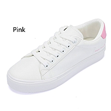stylish korean solid color leisure white shoes