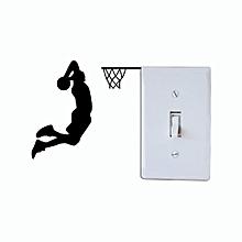 joueur de basket-ball dunk silhouette - noir