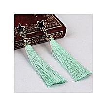 fashion bohemian women ethnic hanging rope tassel earrings—green