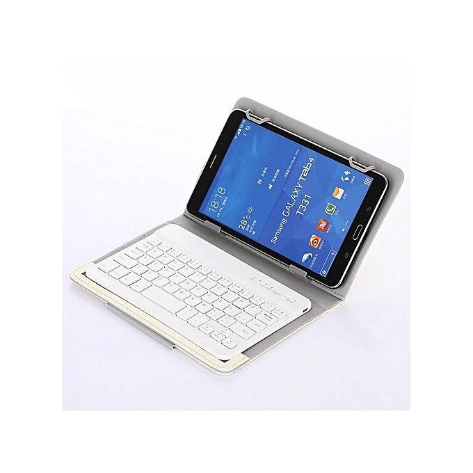 genericetui en cuir avec clavier bluetooth int gr compatible tablette 9 10 pouces blanc. Black Bedroom Furniture Sets. Home Design Ideas