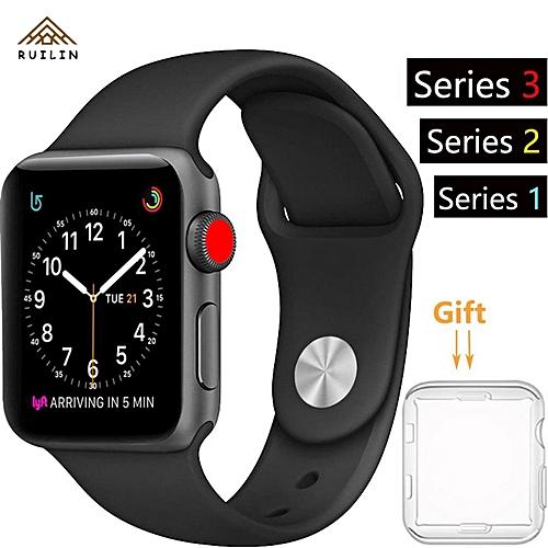 nouveau produit d6ff0 39e4b 38mm IPhone Watch Band Series 1 Series 2 Series 3 Silicone Smart Apple  Watch Sport Band Quick Release Bracelet Strap Wristband Replacement  Watchband ...