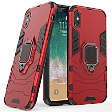 for iphone xs max case, silicone tpu and hard pc luxury armor shockproof metal ring holder cover phone casing