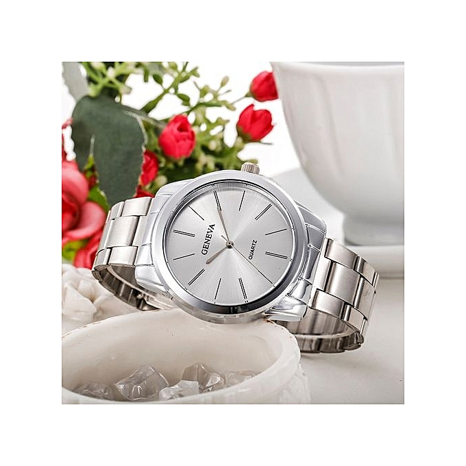 Geneva Geneva Women's  Wrist Watch  Fashion Women Men Simple Stainless Steel Analog Quartz Wrist Watch@Silver au Côte d'Ivoire à prix pas cher  |  Côte d'Ivoire