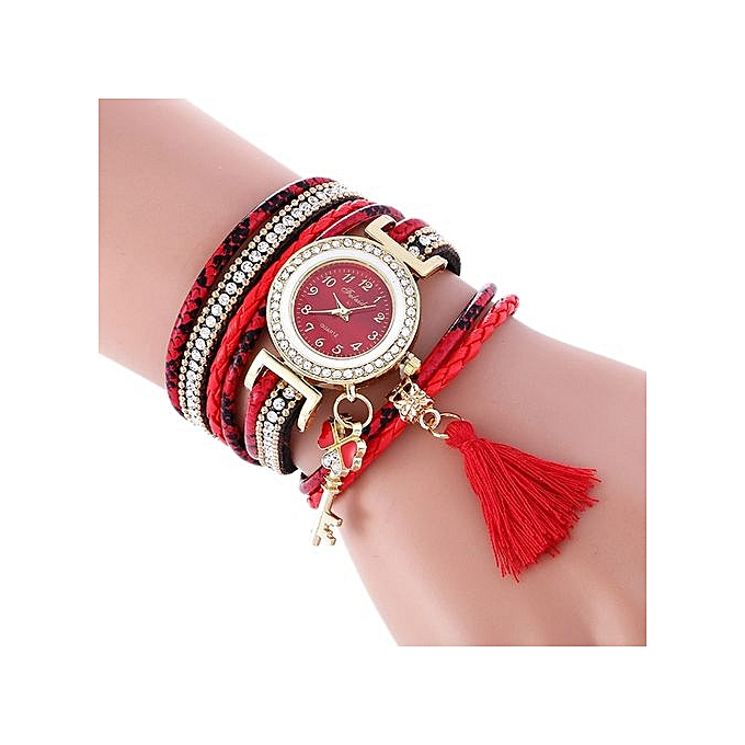 FULAIDA Africashop Watch Fulaida- Wrap Around Fashion Weave Leather Bracelet Lady Womans Wrist Watch -Red au Côte d'Ivoire à prix pas cher  |  Côte d'Ivoire
