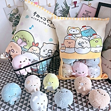 a bag of sumikko gurashi plush 8 pcs japanese animation sumikko gurashi soft pillow corner bio cartoon doll for kids children(dinosaur)