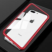 ultra slim magnetic adsorption metal frame tempered glass magnet flip case for iphone 8 plus & 7 plus(black + red)