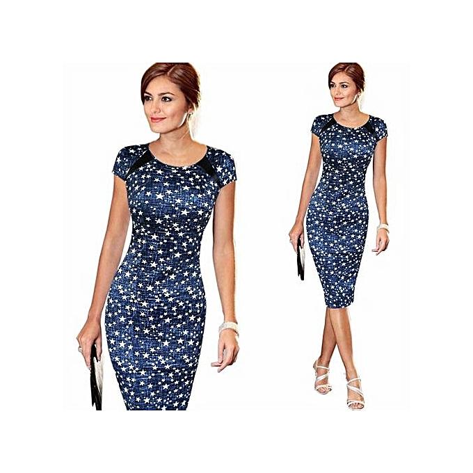 Ronde Fashion Bleu Robe Courtes Prix A Moulante Encolure Manches OAOYBxZ