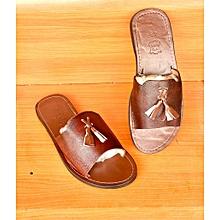 sandales en cuir fermée lanière - marron