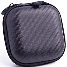 whiskyky store portable mini square hard storage case bag for earphone headphone sd tf cards-black