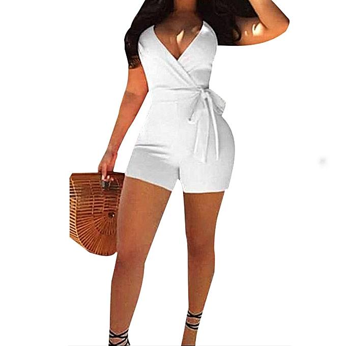 Combi Sexy Short Blanc Femme Coton SLqGUzVpM