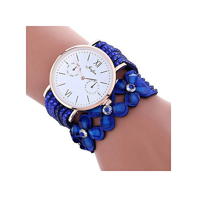 FULAIDA Africashop Watch Fulaida-Fashion Large Dial Chimes Diamond Leather Bracelet Lady Womans Wrist Watch -Blue au Côte d'Ivoire à prix pas cher  | Promotion  Anniversaire