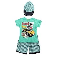 ensemble short + t-shirt + casquette pour enfant - vert