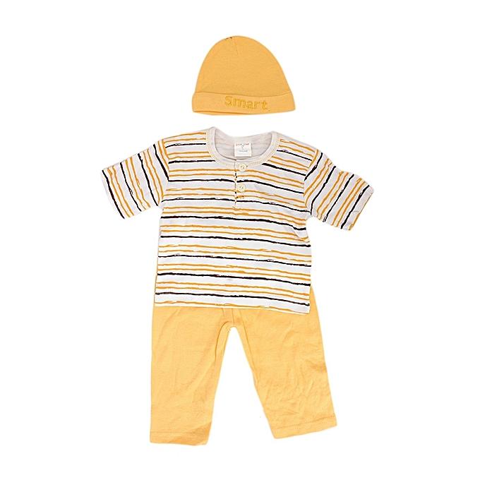 GOOD TIME Ensemble Tee-Shirt + Pantalon + Bonnet Bébé – Orange/Blanc/Multicolore au Côte d'Ivoire à prix pas cher  |  Côte d'Ivoire
