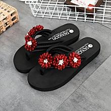 fashion women flower anti-skidding flat heel sandals slipper beach shoes red