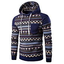 9d84fba3f9b53 Color Block Tribal Printed Pocket Hooded Raglan Sleeve Hoodie(L)