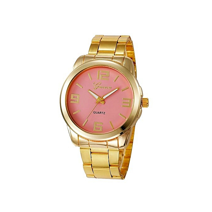Geneva Geneva Women's  Wrist Watch  Fashion Women Men Simple Stainless Steel Analog Quartz Wrist Watch@Pink au Côte d'Ivoire à prix pas cher  |  Côte d'Ivoire