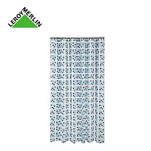 Rideau De Douche SQUARE Mosaïque Bleue, Dim 200X180 Polyester