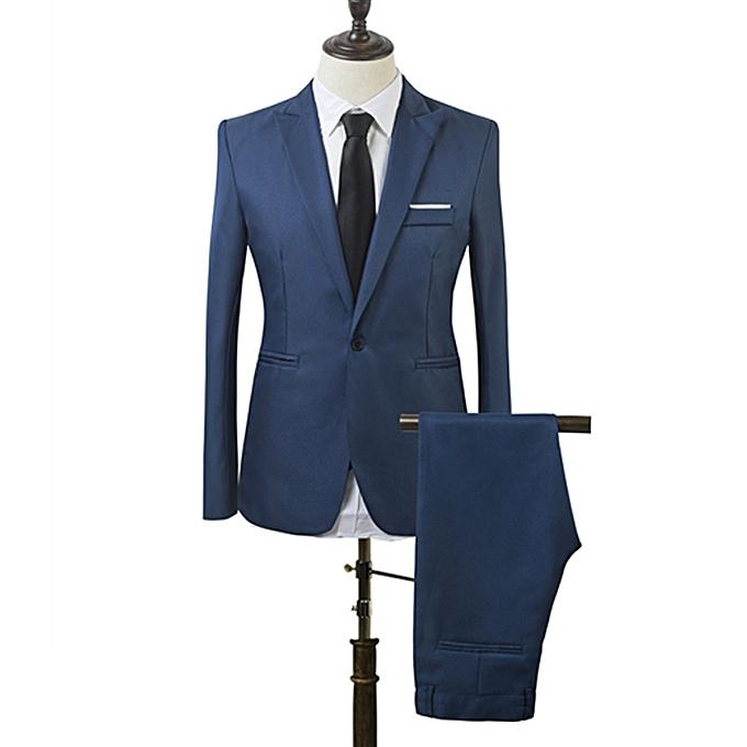 Generic Ensemble Costume Slim De Deux Pièces Pour Homme - Bleu ... ada9e882031