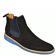 low priced 83318 f31d6 Chaussure Homme En Boot à Gaine En Daim à Semelle Bleu - Noir