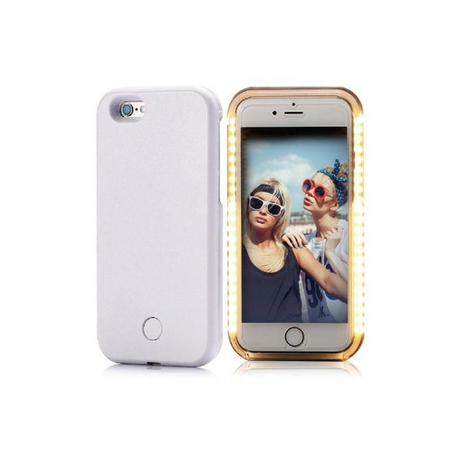 accessoire electro coque lumiaire compatible iphone 6 plus 6s plus led selfie nocturne blanc. Black Bedroom Furniture Sets. Home Design Ideas