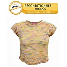 t-shirt a rayures en couleur avec bras dentelle - rose clair - article tacheté