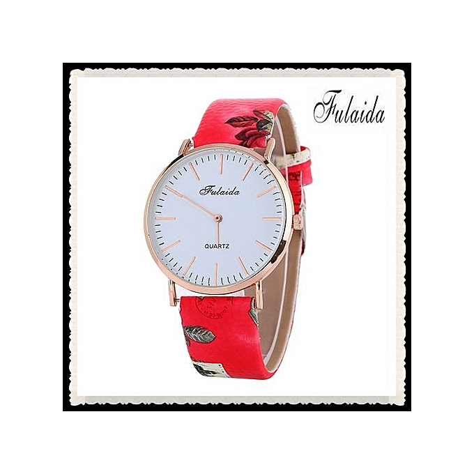 FULAIDA Africashop Watch Fulaida- Printing Pattern Fashion Women Colored PU Leather Watch -Red au Côte d'Ivoire à prix pas cher  |  Côte d'Ivoire