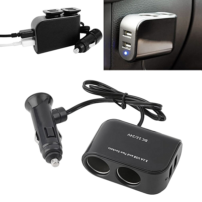 allwinalimentation pda dans la voiture 2 ports usb et 2 prises splitt es chargeur voiture 12v. Black Bedroom Furniture Sets. Home Design Ideas