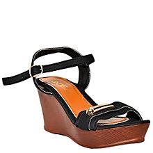 sandales compensées à lanières - noir