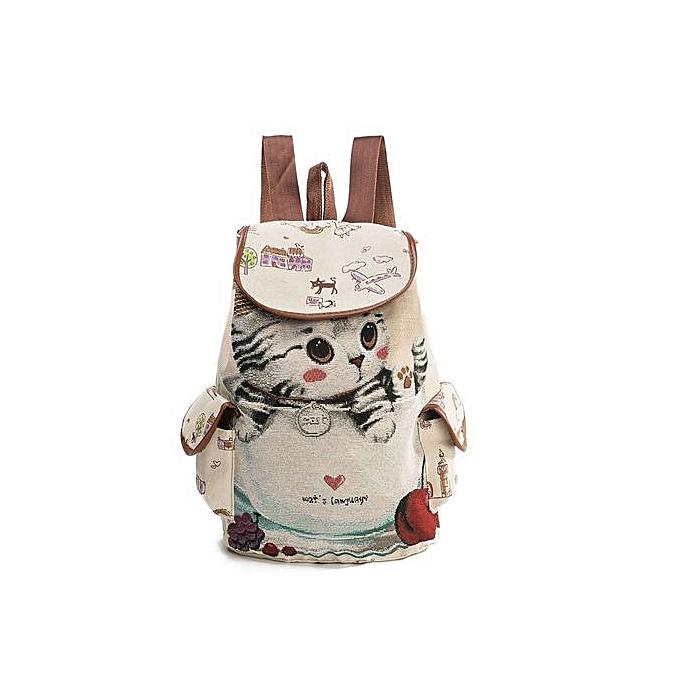 Generic Nice Women's Double-shoulder Bag  Lovely Backpack  Zipper Bag Cat  Gril's au Côte d'Ivoire à prix pas cher    Promotion  Anniversaire