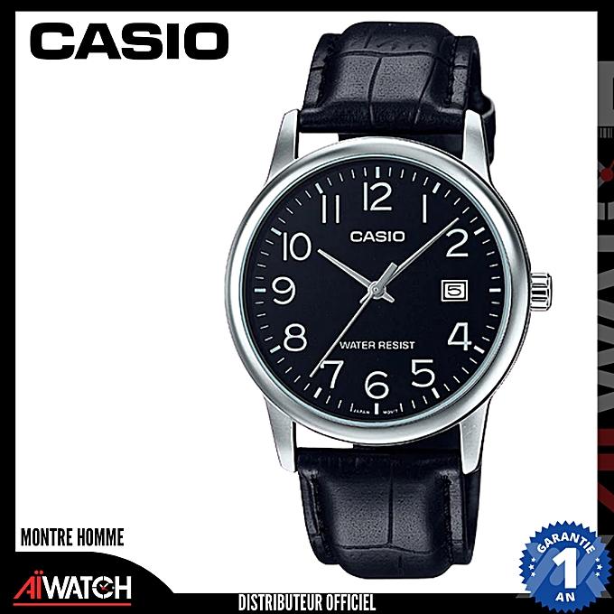 Montre Homme - Bracelet Cuir Cadran Rond Noir - Boitier Argent - MTP-V002L- cff78a64c5f2
