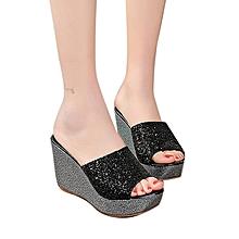 75d816a1b9f4 Sandale A Semelles Compensées Pour Femme - Noir