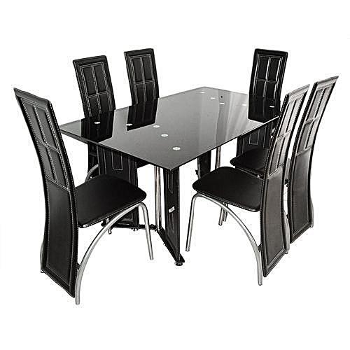 Table à Manger 6 Places En Verre Noir Et Simili Cuir - Noir.