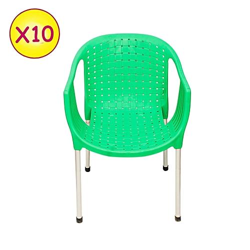 No brand lot de 10 chaises de c remonie plastique vert - Maison des enfants de la cote d opale ...