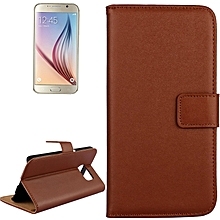 for samsung galaxy s6 / g920 cowhide split leather protective case with holder & card slots (brown)
