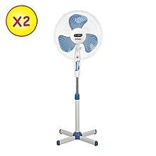 """2 ventilateurs 16"""" - stv-602 - bleu-blanc - garantie 1 mois"""