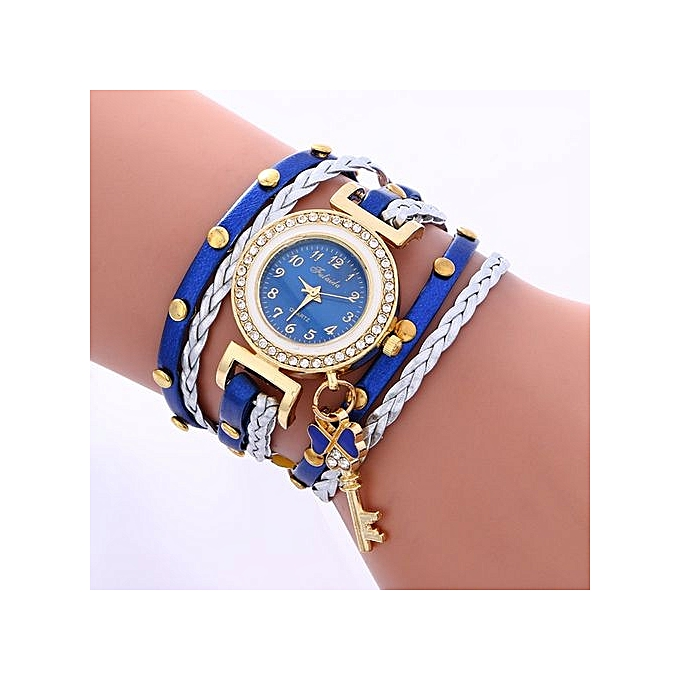 FULAIDA Africashop Watch Fulaida-Fashion Leather Bracelet Weaving Lady Womans Wrist Watch Blue-Blue au Côte d'Ivoire à prix pas cher  |  Côte d'Ivoire