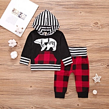 newborn infant kids baby boys stripe hooded t-shirt+plaid pants outfits clothes- red