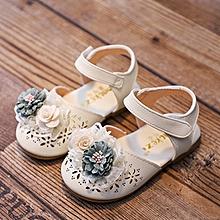 size 15-25 summer baby girls flower walking shoes soft sole princess sandals-beige
