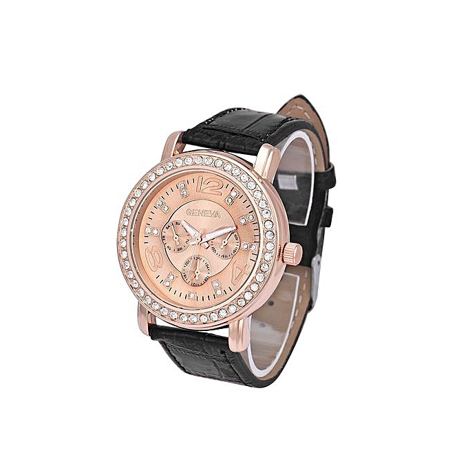 Geneva Geneva  Africashop Sport Watch  Women Fashion Luxury Rhinestone Crystal Analog Quartz Wrist Watch BK-Black au Côte d'Ivoire à prix pas cher  |  Côte d'Ivoire