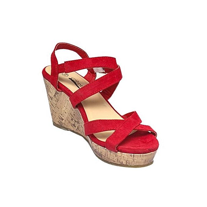 Sandales Compensées Lanières À Rouge Compensées Sandales À Lanières P80wOnk