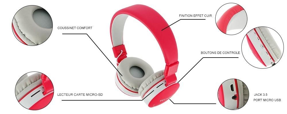 Casque Generiques Sans 881 Avec Bluetooth Ms Microphone Produits Fil BCwqP55