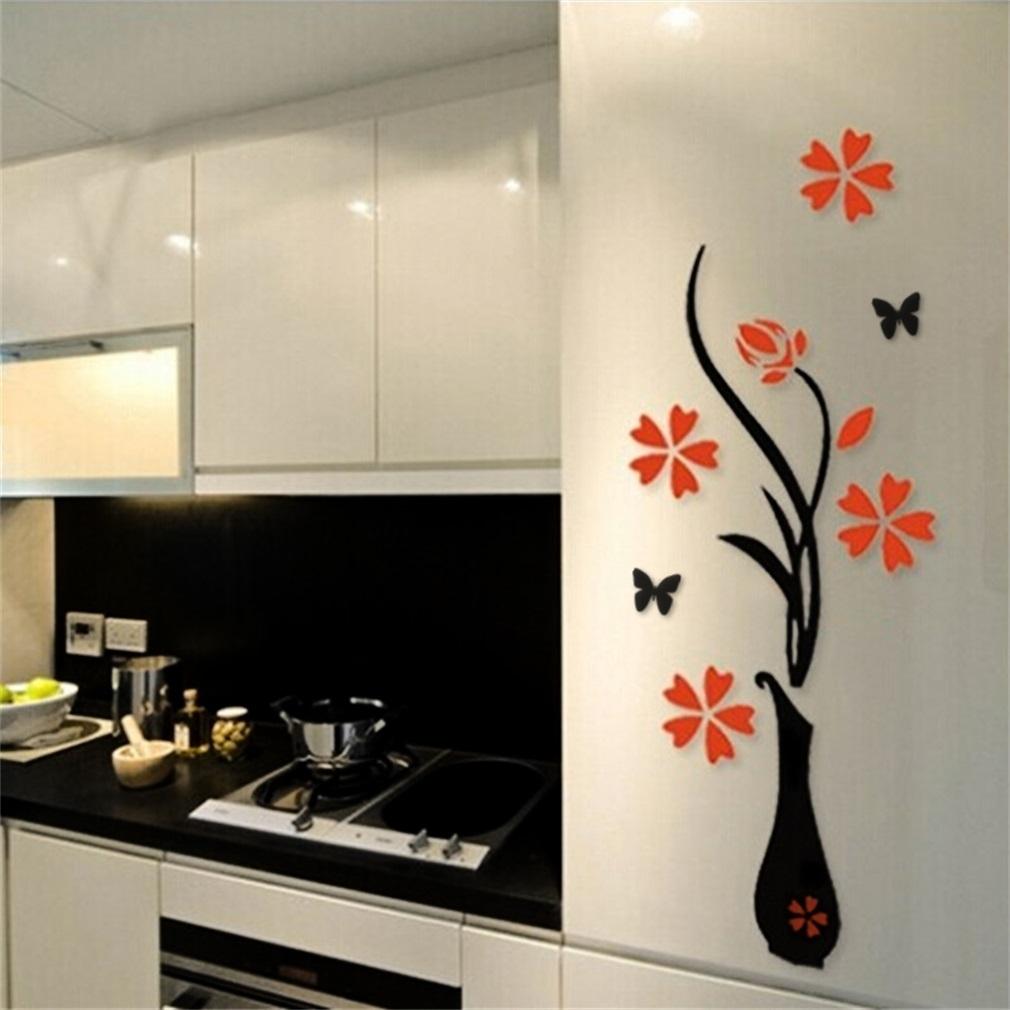 Allwinautocollant mural 3d effet vase a fleur noir - Deposer du carrelage mural ...