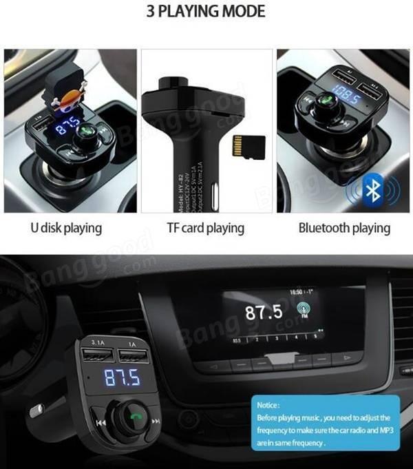 HY-82 Car Bluetooth mains libres FM launcher voiture MP3 double chargeur voiture USB