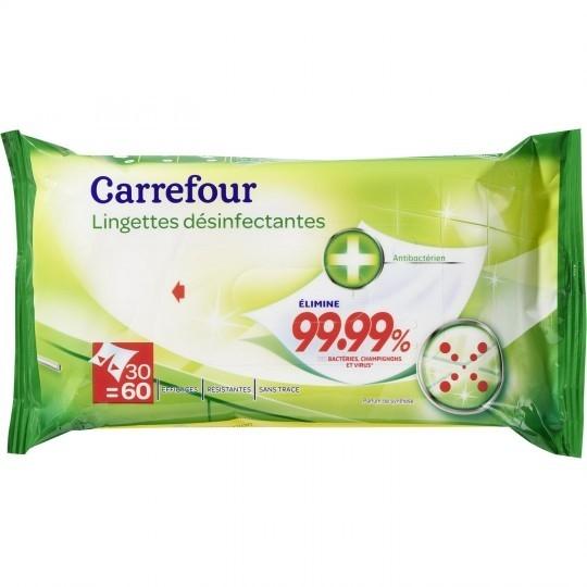 Lingettes désinfectantes Antibactérien parfum de Synthèse CARREFOUR
