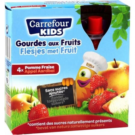 Compotes en gourde pomme fraise s/sucres ajoutés CARREFOUR KIDS