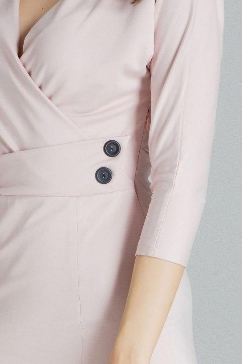 Robe midi ajustée à manches kimono 3/4 rose L086