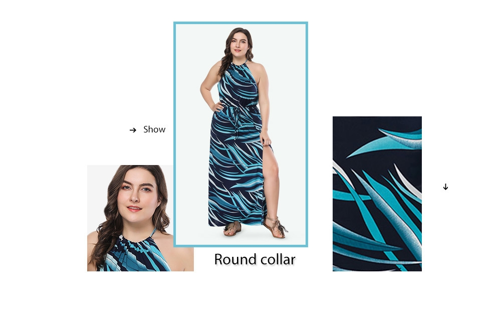 Trendy Round Collar Print Slit Backless Plus Size Women Maxi Dress
